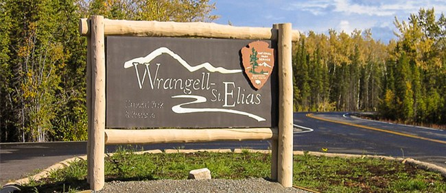 Entrance of Copper Center Visitor Center with Wrangell-St. Elias National Park Service Sign