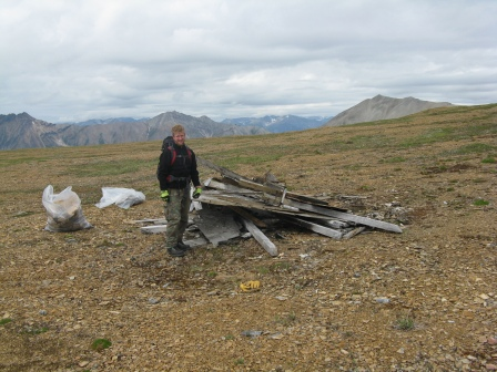 NPS Staff with collected mining debris