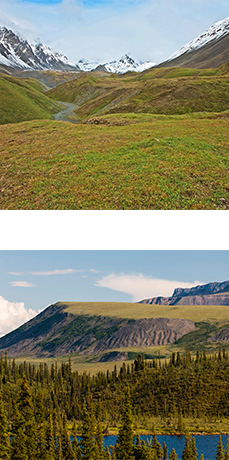 One image of tundra covered hills with mountains in background. One image of forest, lake, and tundra covered plateau with high rocky slopes.