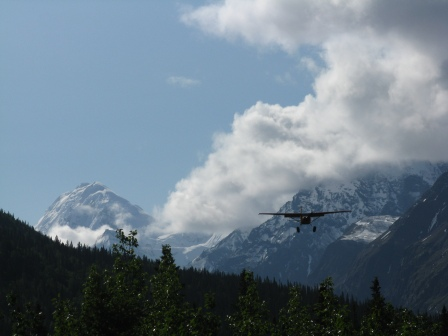 Plane landing at Glacier Creek