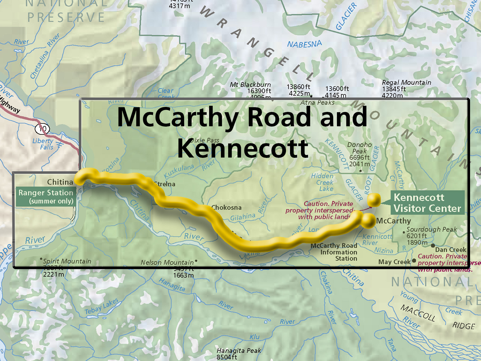 map showing kennecott and mccarthy road area the