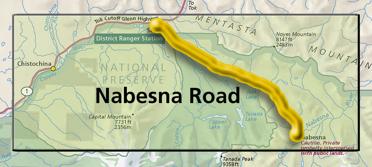 Map showing the Nabesna Road area.