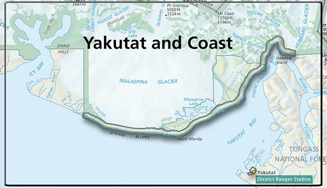 Map showing the Yakutat and Coast area.