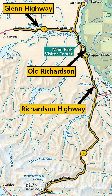 Map showing location of Glenn Highway, Old Richardson Highway, and Richardson Highway.