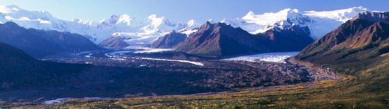 View of the Kennicott Glacier, Root Glacier, and High Wrangell Mountains