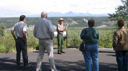 Visitors learning about Wrangell-St. Elias