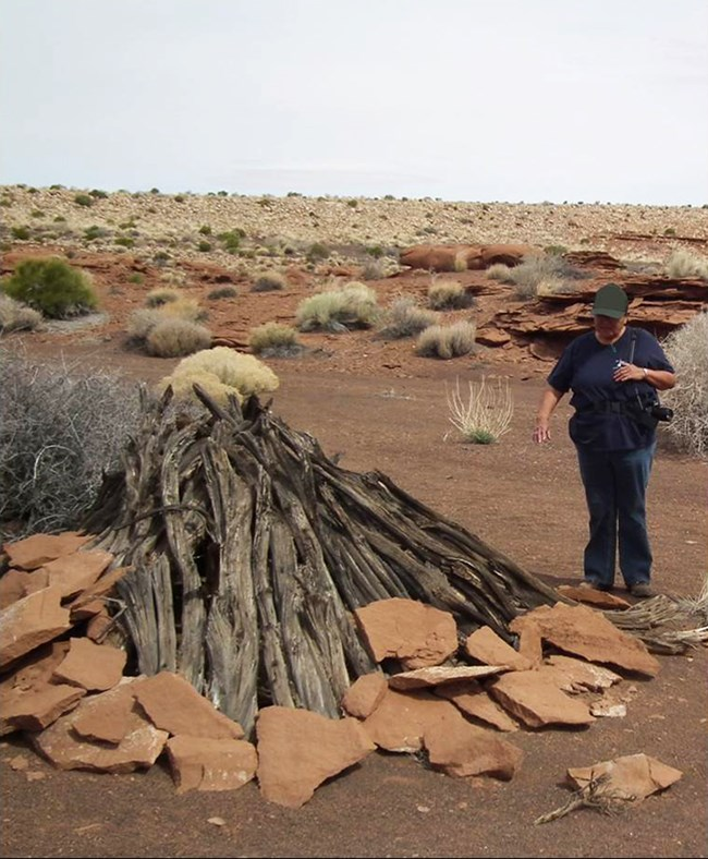 a Navajo woman standing beside a small building of stone and stacked wood in the desert