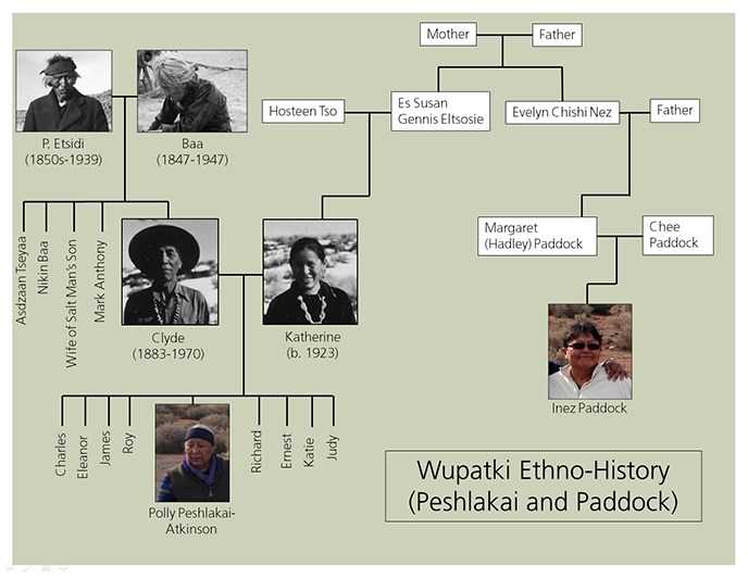 a family tree depicting the connection between the Peshlakai and Paddock families