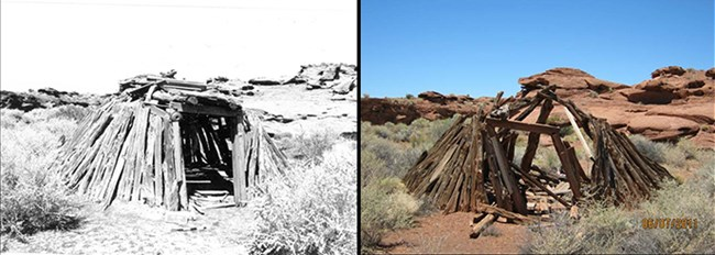 before and after images of a wooden structure in the desert, intact and collapsed