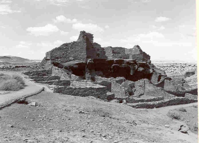 Wupatki Pueblo after the removal of the most of the reconstructed walls.