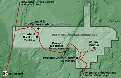 Map of Wupatki Pueblos