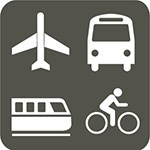 grey box with white icons of plane, bus, train and bicycle