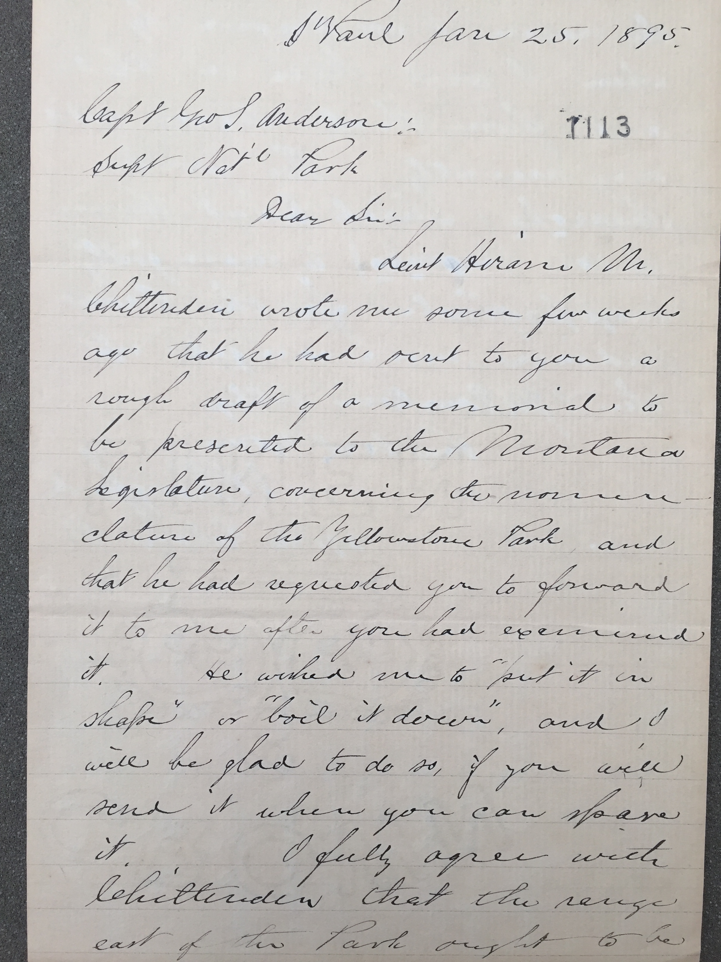 Letter from Nathaniel Langford