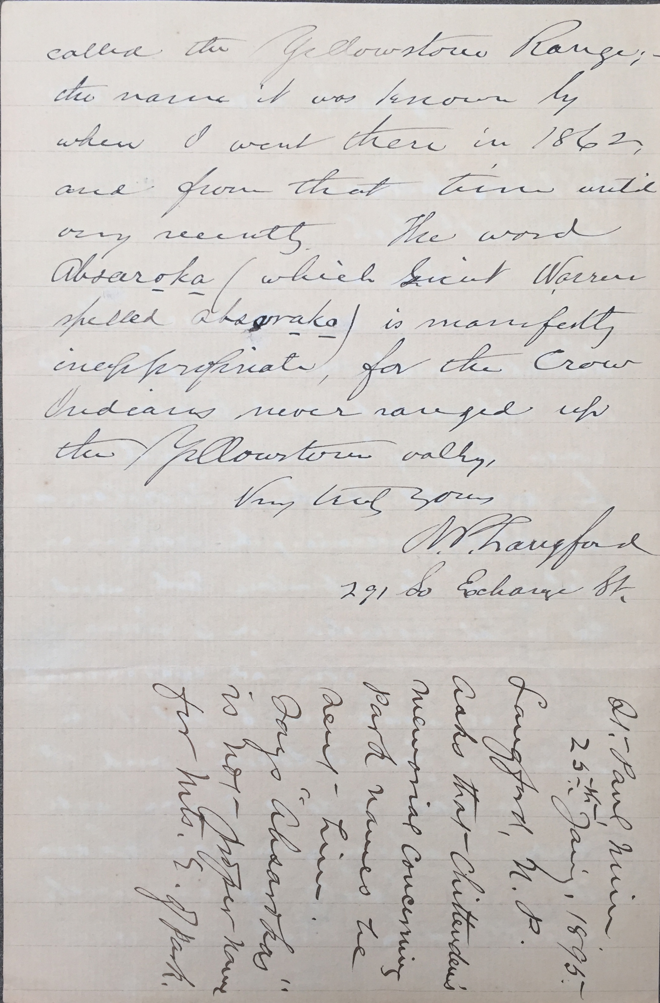 January 25, 1895 Letter written by Langford to Acting Army Superintendent George Anderson, concerning Chittenden and the naming of the mountains on the east side of the park