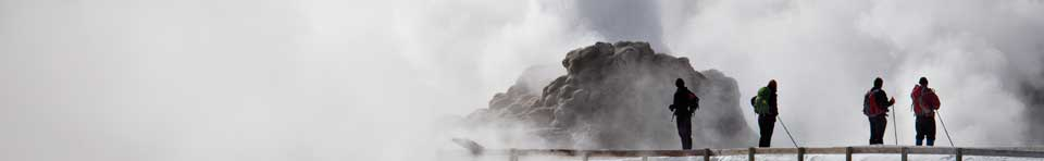 Winter visitors watching geysers erupting