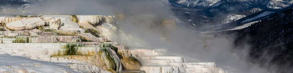 Steam rises off of the colorful Mammoth Hot Springs Terraces