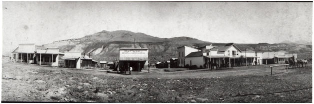 Park Street, Gardiner, Montana, 1890 Building in center has sign that reads Pratt & Hall, General Merchandise