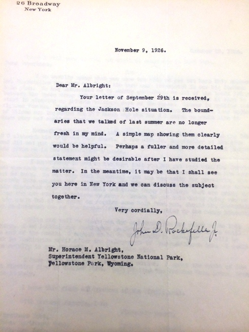 Letter from John D. Rockefeller to Horace Albright, 1926.