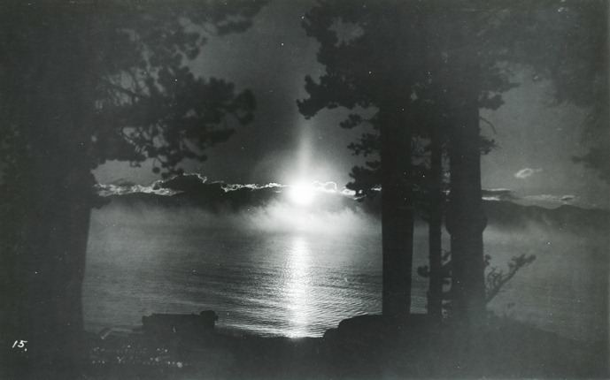 Moonlight and mist on Yellowstone Lake, date unknown. Photo: #YELL 124075