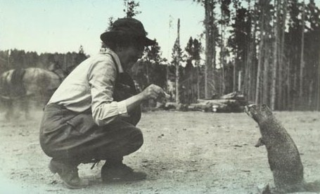 Woman feeding marmot, circa 1925. Photo: YELL 193674-3