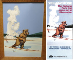 (left) Painting, Skiing Bear, by Frank Holub, 1975. (right) brochure, by TW Services, 1975-1976