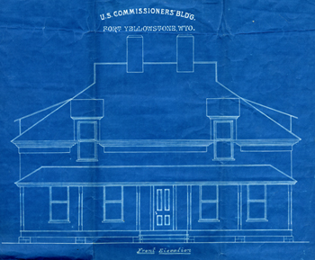 Architectural drawing, U.S. Commisioner's residence, Fort Yellowstone, ca. 1900.