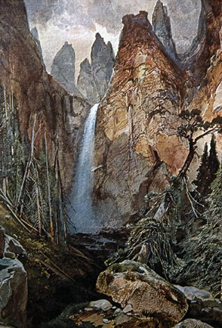 Water color of a waterfall cascading down steep mountainsides.