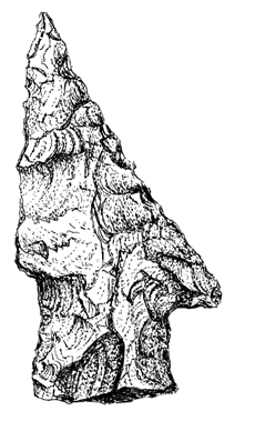 A hand-drawing of a stone knife