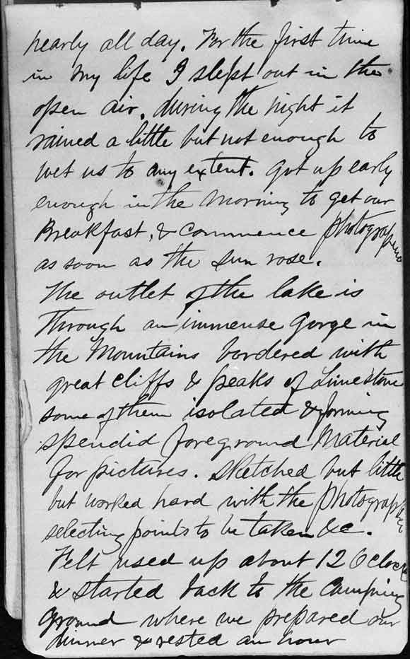 A large image of Thomas Moran's diary page 3