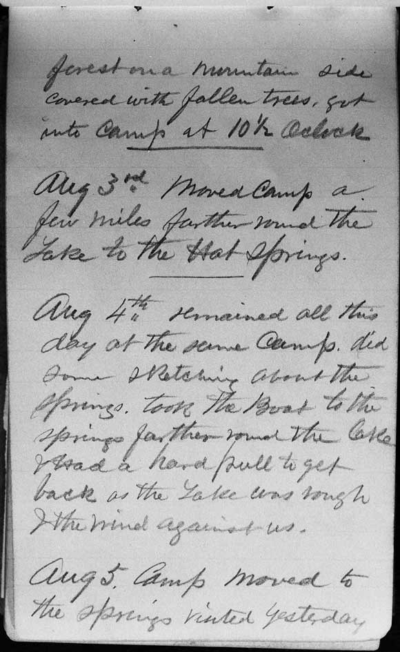 A large image of Thomas Moran's diary page ten.