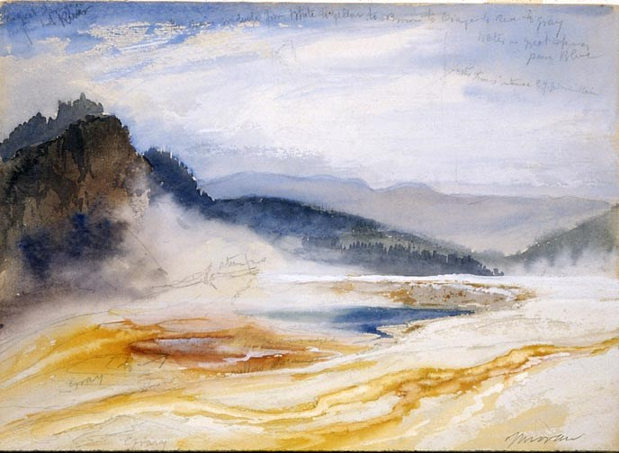 A painting over a pencil sketch of a colorful, steaming pool of water near mountains