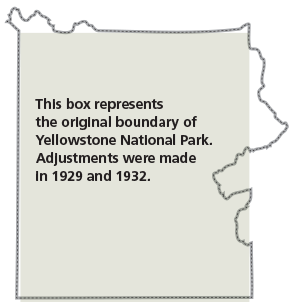 A rectangular box and the current park boundary of Yellowstone National Park