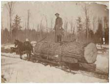 A historical photo of a man standing atop a large log being pulled by a horse.