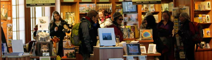 Visitors look at items in a bookstore