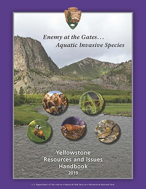 Handbook cover with a view of the Madison River, exotic species superimposed on river view.