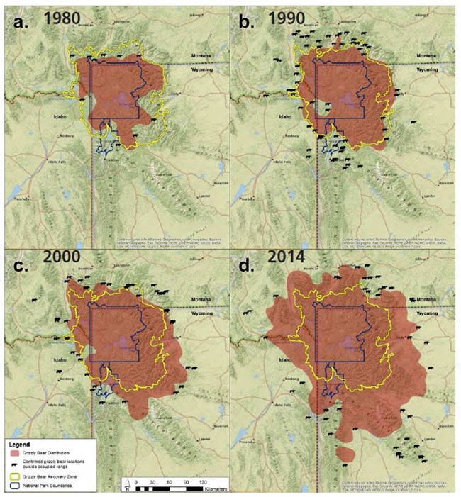 Figure 1.  Grizzly bear distribution in the GYE from the 1980s through 2014.