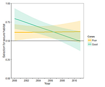Figure 3. Estimated change in fall grizzly bear selection of secure habitats (areas more than 500m from roads) in the Greater Yellowstone Ecosystem during 2000–2011. Early in the study, grizzly selection for secure habitat was greater during years of good