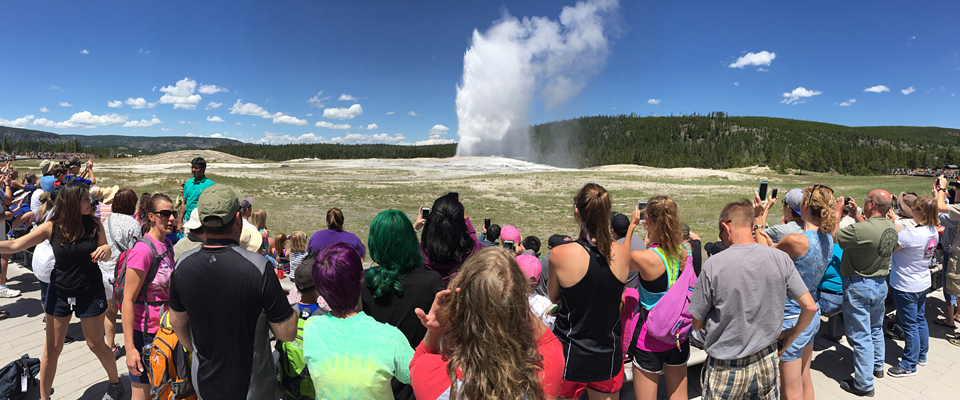 A crowd looks on as Old Faithful erupts
