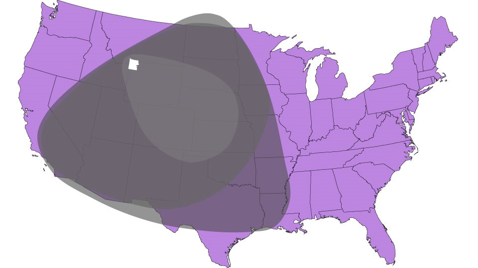 Map of Lower 48 of US showing three different ash-falls in gray shades.