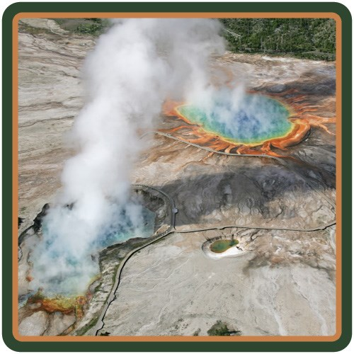 Aerial view of Grand Prismatic Spring and Excelsior Geyser Crater.