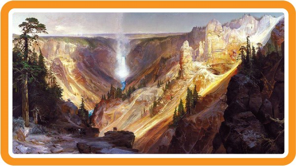 Painting of the Lower Falls of the Yellowstone River and the surrounding canyon.