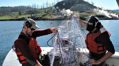 Research scientists on Yellowstone Lake