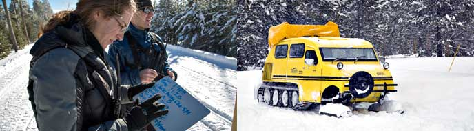 A photo collage with a pair of researchers taking notes on a snowy park road and a yellow snowcoach driving down the snow-covered, groomed road.