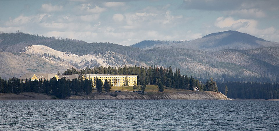 View of Lake hotel from on Yellowstone Lake