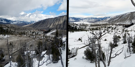 Changes visible at Mammoth Hot Springs.