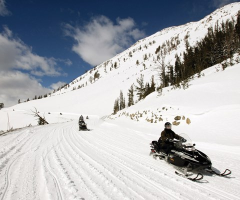 A line of snowmobiles spread out on a mountain road