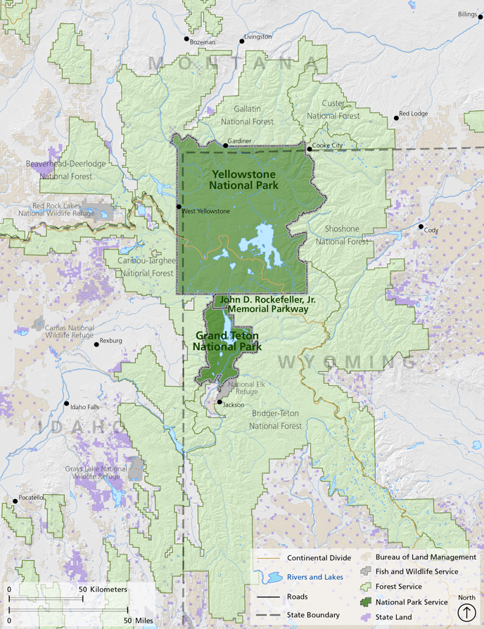 Map Of Greater Yellowstone Showing Boundaries By Owner The Continental Divide Rivers And Lakes
