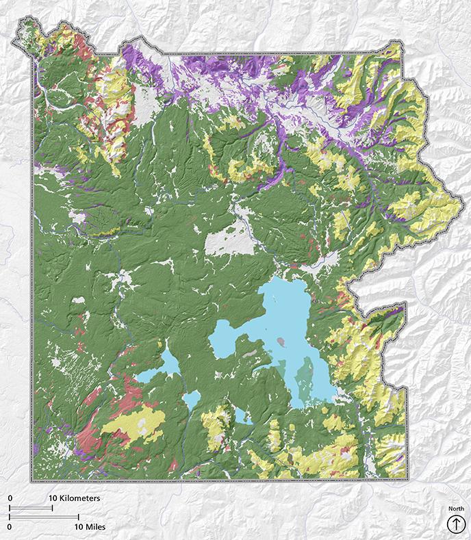 Vegetation Communities Yellowstone National Park US National - Yellowstone national park us map