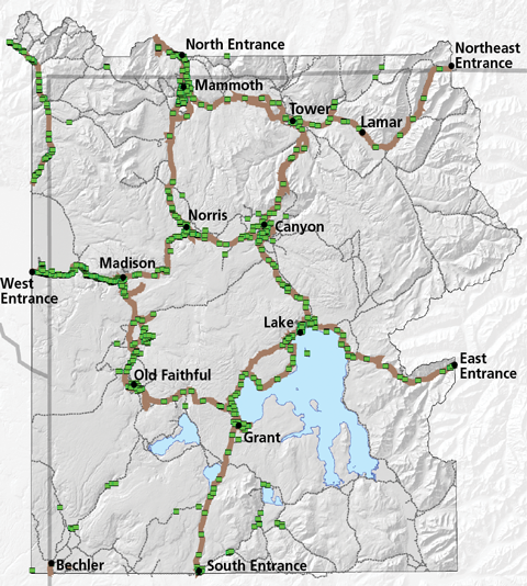 A park map showing park roads, rivers, lakes, and elevation with invasive plant treatments, mostly along roadways
