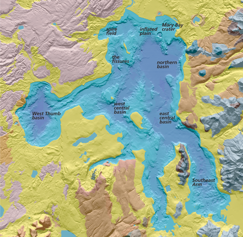 Elevational map of Yellowstone Lake and surrounding area